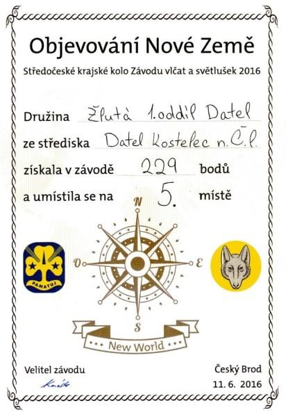 Diplom Žlutá světlušky 5. místo kraj web