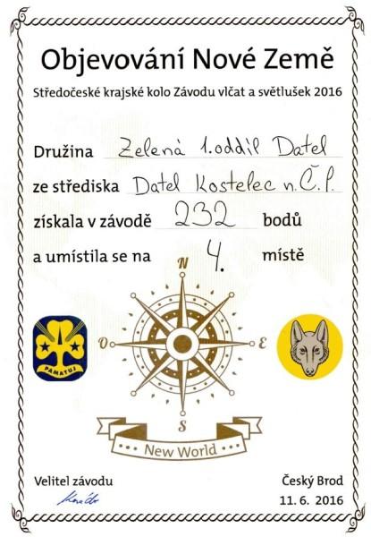 Diplom Zelená světlušky 4. místo kraj web