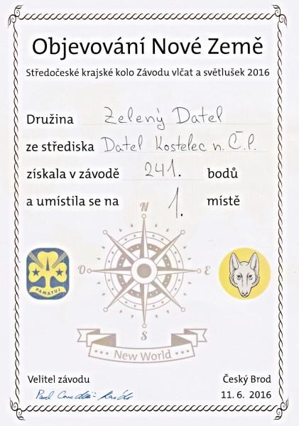 Diplom Zelená vlačata 1. místo kraj web